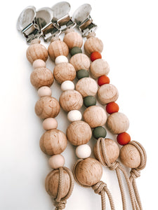 fall collection // wooden + silicone pacifier clip