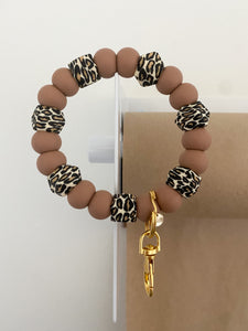 *NEW* caramel brown + mini hex leopard // bracelet keychain
