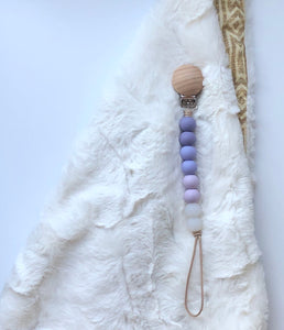 spring collection | pacifier clip (lavender, lilac + clear)