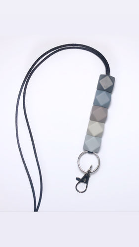 charcoal, gray, taupe, riverstone + light gray lanyard