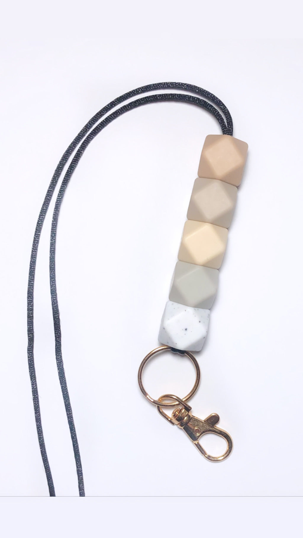 oatmeal, sandstone, beige, riverstone + speckled white lanyard