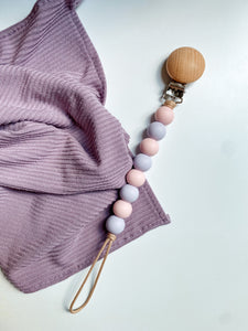 •NEW• ballet pink + lilac // pacifier clip
