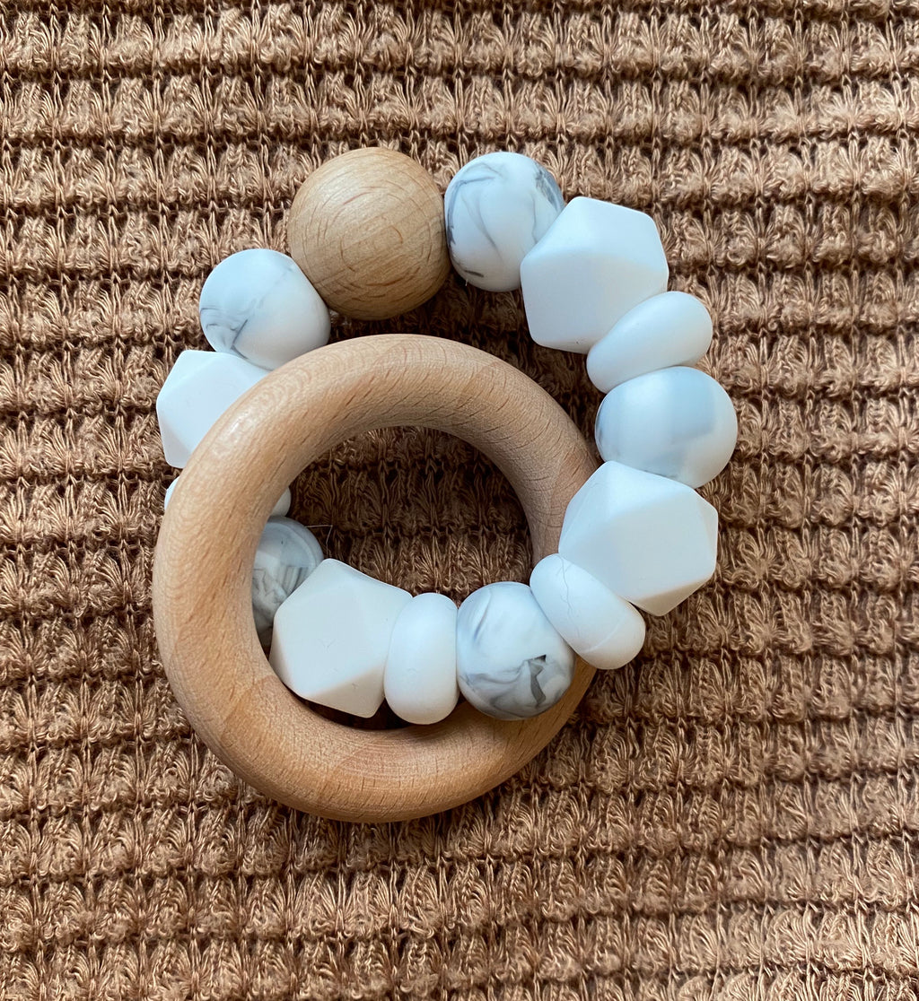 •NEW• marble, white + wood // teether