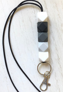 black, white + grays lanyard