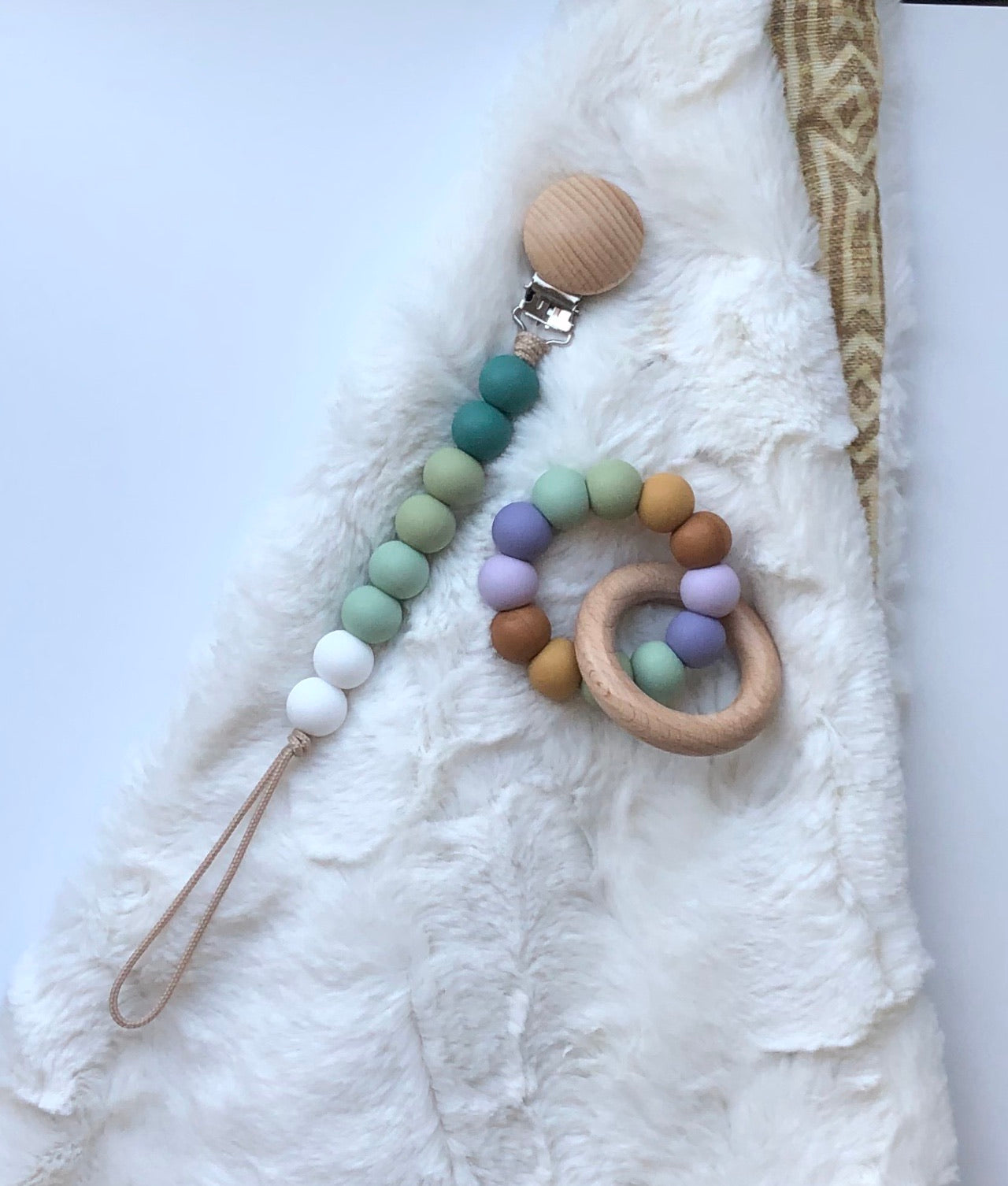 pacifier clip (pine, sage, smoky mint + white)