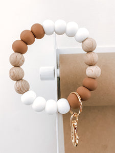 fall collection // caramel brown, wood + white bracelet keychain (back in stock Sept 20th)