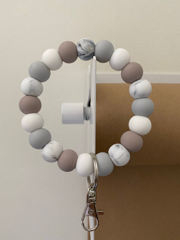 marble, sand + light grey // bracelet keychain