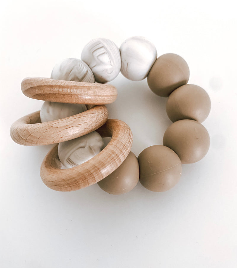 *NEW* caramel marble + mocha // rattle teether