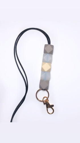 taupe, clear + beige lanyard