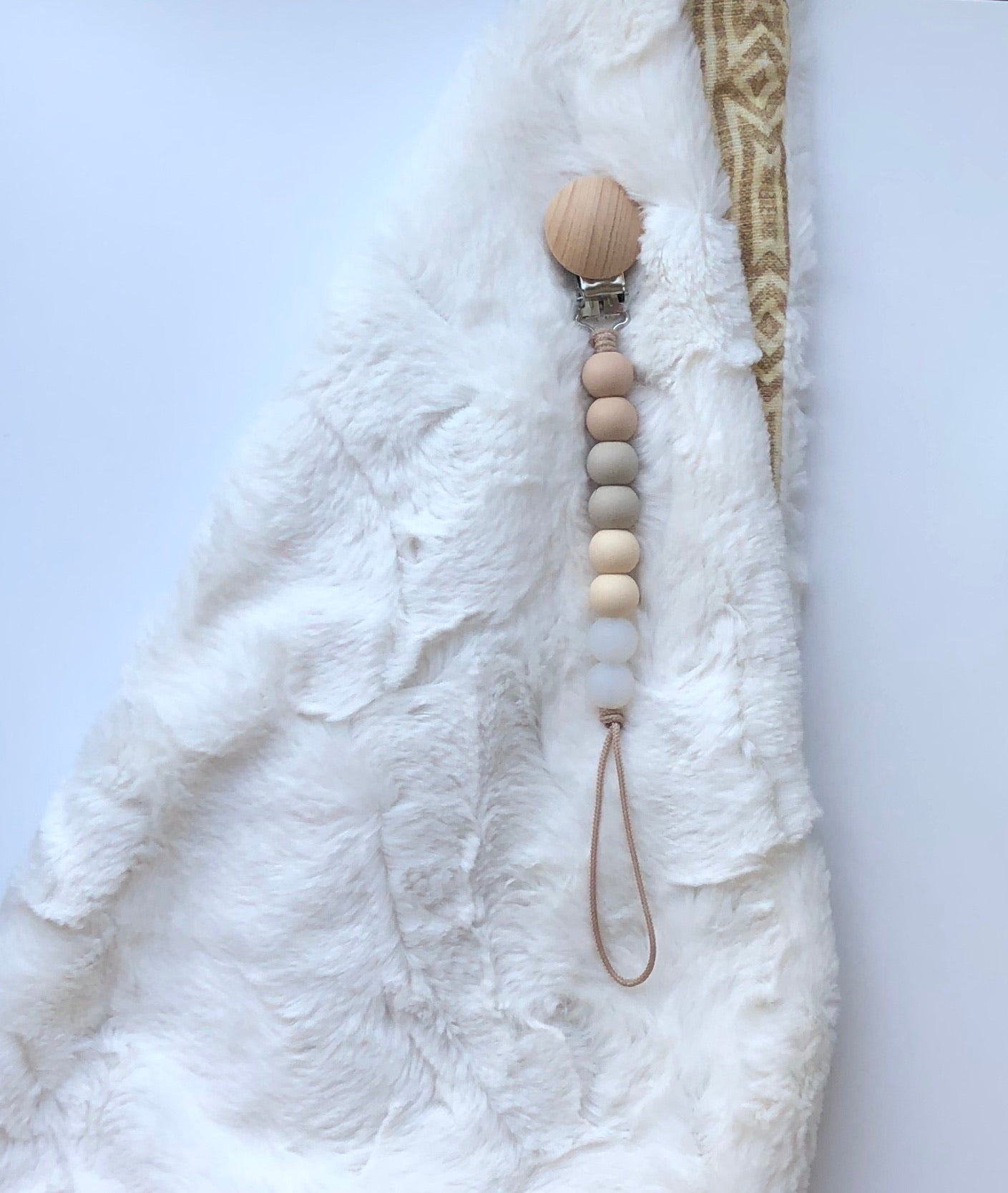 spring collection | pacifier clip (oatmeal, sandstone, beige + clear neutral)