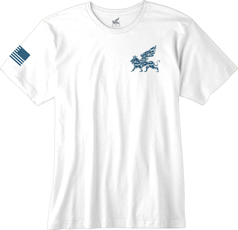 Blue Royalty Veterans White Tee