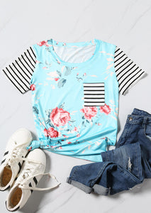 Floral Striped Pocket T-Shirt