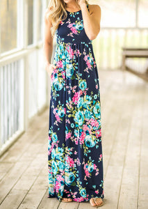 Floral Pocket Sleeveless Maxi Dress