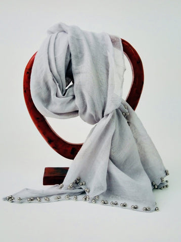 Charcoal Grey Cotton Scarf with Silver Baubles