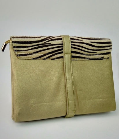 Gold/ Animal print Clutch Bag with Gold Clasp