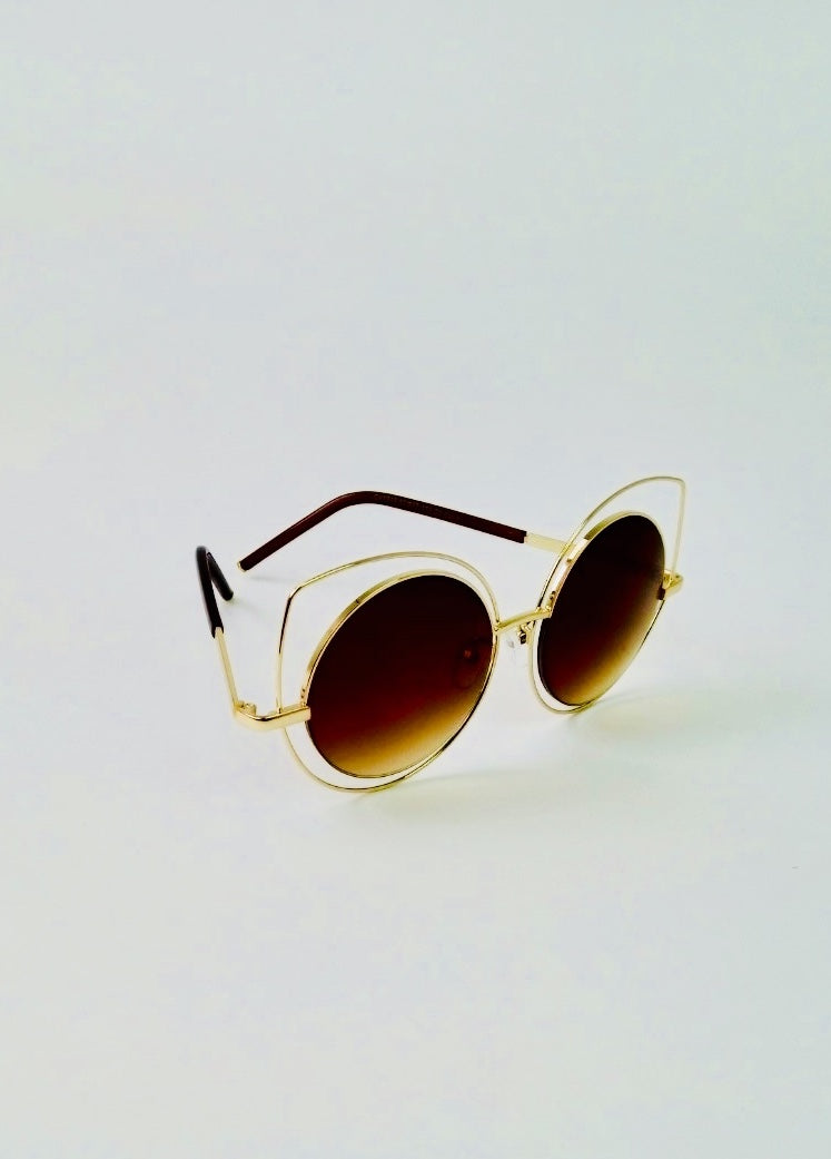 Gold Oval Frame Glass with Round Lenses