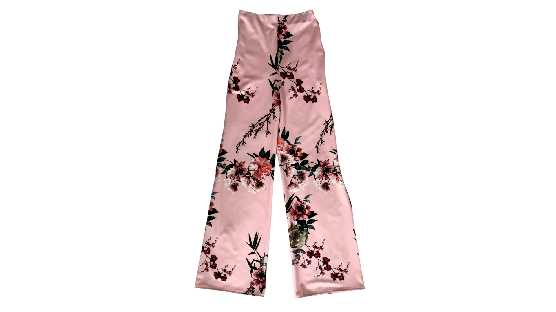 Pink floral wide leg trousers