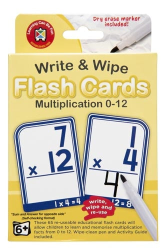 MULTIPLICATION 0-12 Write & Wipe Flash Cards