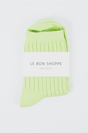 HER SOCKS | SOLID LIME