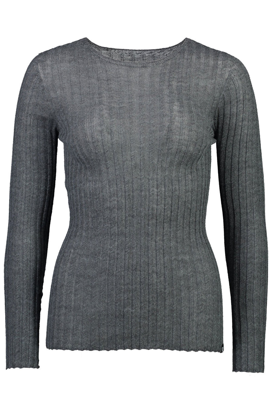 MERINO TULLE CREW | GREY MIX