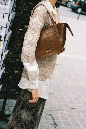 3/4 Milly Bag | Cognac Croc | Bags NZ | YU MEI NZ | Black Box Boutique Auckland | Womens Fashion NZ