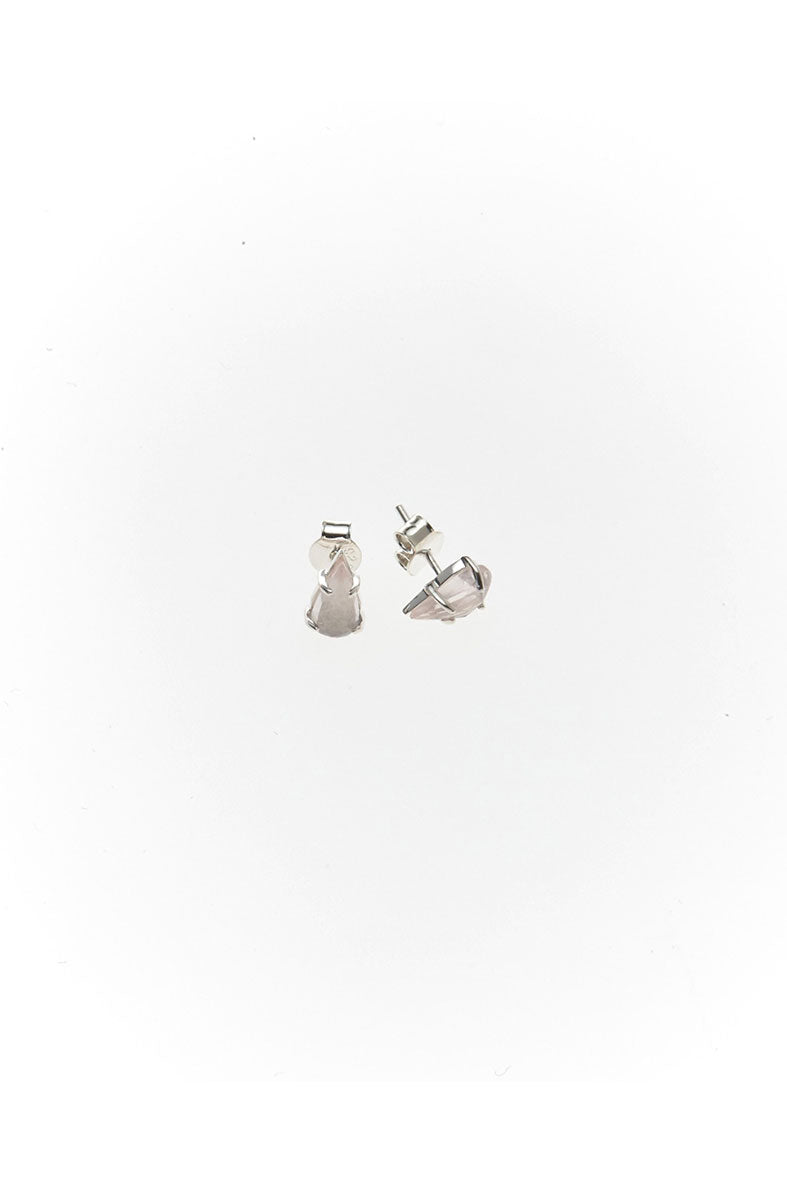 SINGLE TEAR STUD EARRINGS | ROSE QUARTZ