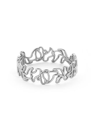 THIN SCRIBBLE RING SILVER