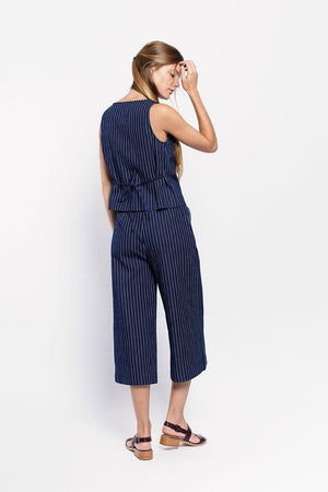Square Tie Top | Pinstripe | Tops NZ | VANISHING ELEPHANT NZ | Black Box Boutique Auckland | Womens Fashion NZ