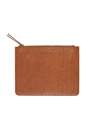 Zip Pouch | Tan Croc | Bags NZ | BRIE LEON NZ | Black Box Boutique Auckland | Womens Fashion NZ