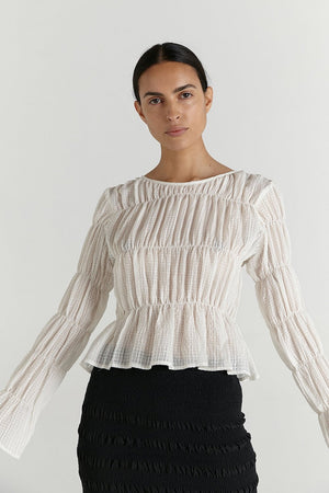 Lorca Top | Chalk | MARLE NZ | tops NZ | Black Box Boutique Auckland | Womens Fashion NZ