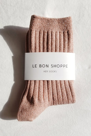 Her Socks | Lurex Coral Glitter | Accessories NZ | LE BON SHOPPE NZ | Black Box Boutique Auckland | Womens Fashion NZ