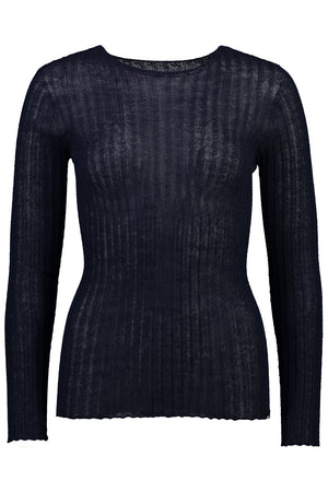 Merino Tulle Crew | Navy | Tops NZ | STANDARD ISSUE NZ | Black Box Boutique Auckland | Womens Fashion NZ