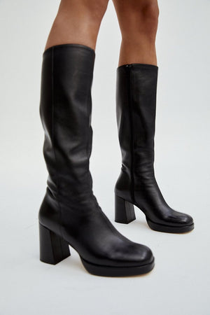 Mia Boot | Black Leather | footwear NZ | MUSIER PARIS NZ | Black Box Boutique Auckland | Womens Fashion NZ