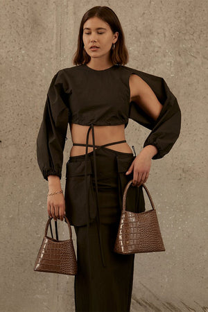 The Mini Chloe | Mocha Croc | BRIE LEON NZ | Bags NZ | Black Box Boutique Auckland | Womens Fashion NZ