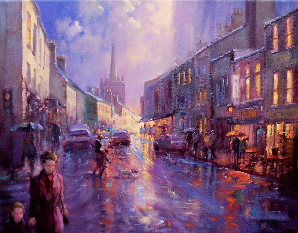 The hustle and bustle of Irelands cities and towns are the focus of these atmospheric works