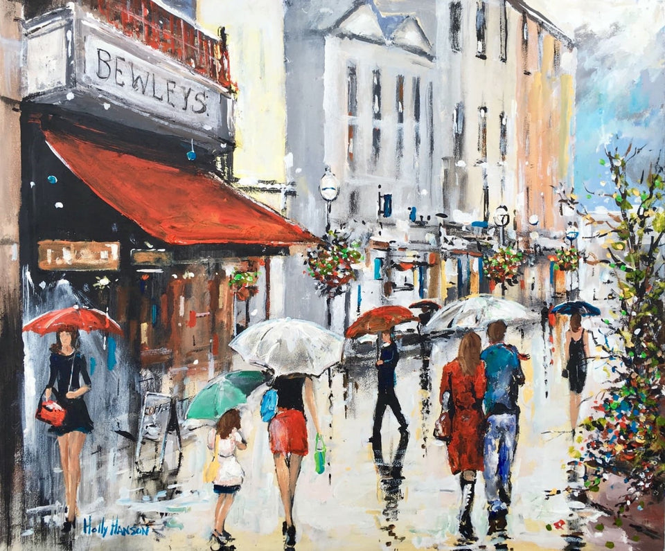 A Rainy Day On Grafton Street Dublin Original Artwork