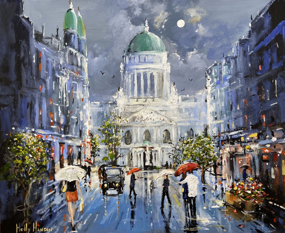 A Wet Moonlit Evening Donegall Place Belfast Original Artwork