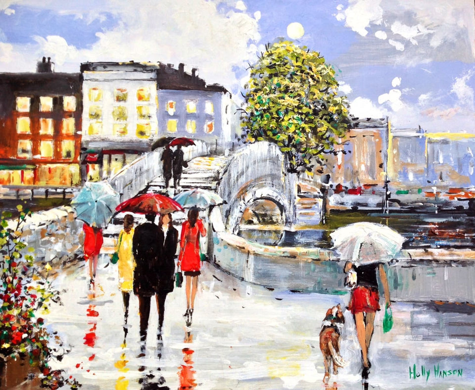 Afternoon Showers By The Halfpenny Bridge Dublin Original Artwork