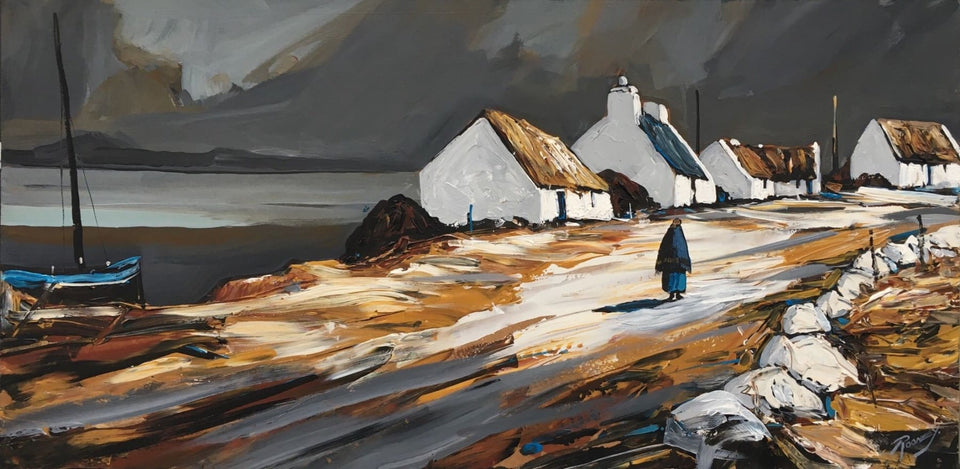 An Irish Coastal Village (Momentary Sunlight) Original Artwork