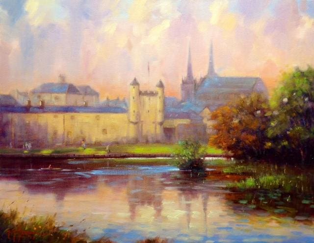 Autumn Light Enniskillen Castle Co.fermanagh 14 X 18 / 35 45 Oil Original Artwork