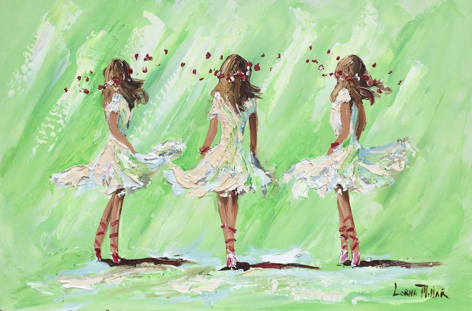 Ballerinas On Green Original Artwork
