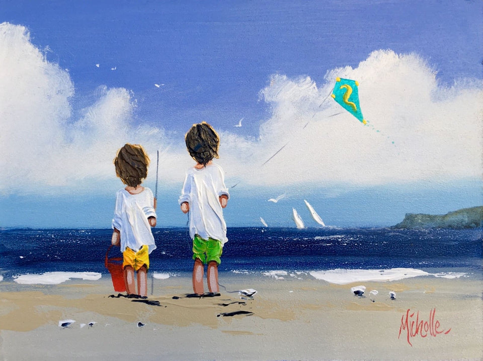 Beach Games Near Fairhead Ballycastle Original Artwork