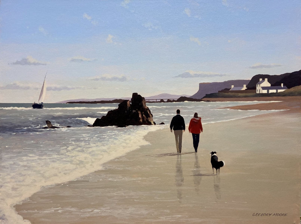 Beach Stroll Ballycastle Co.antrim Original Artwork