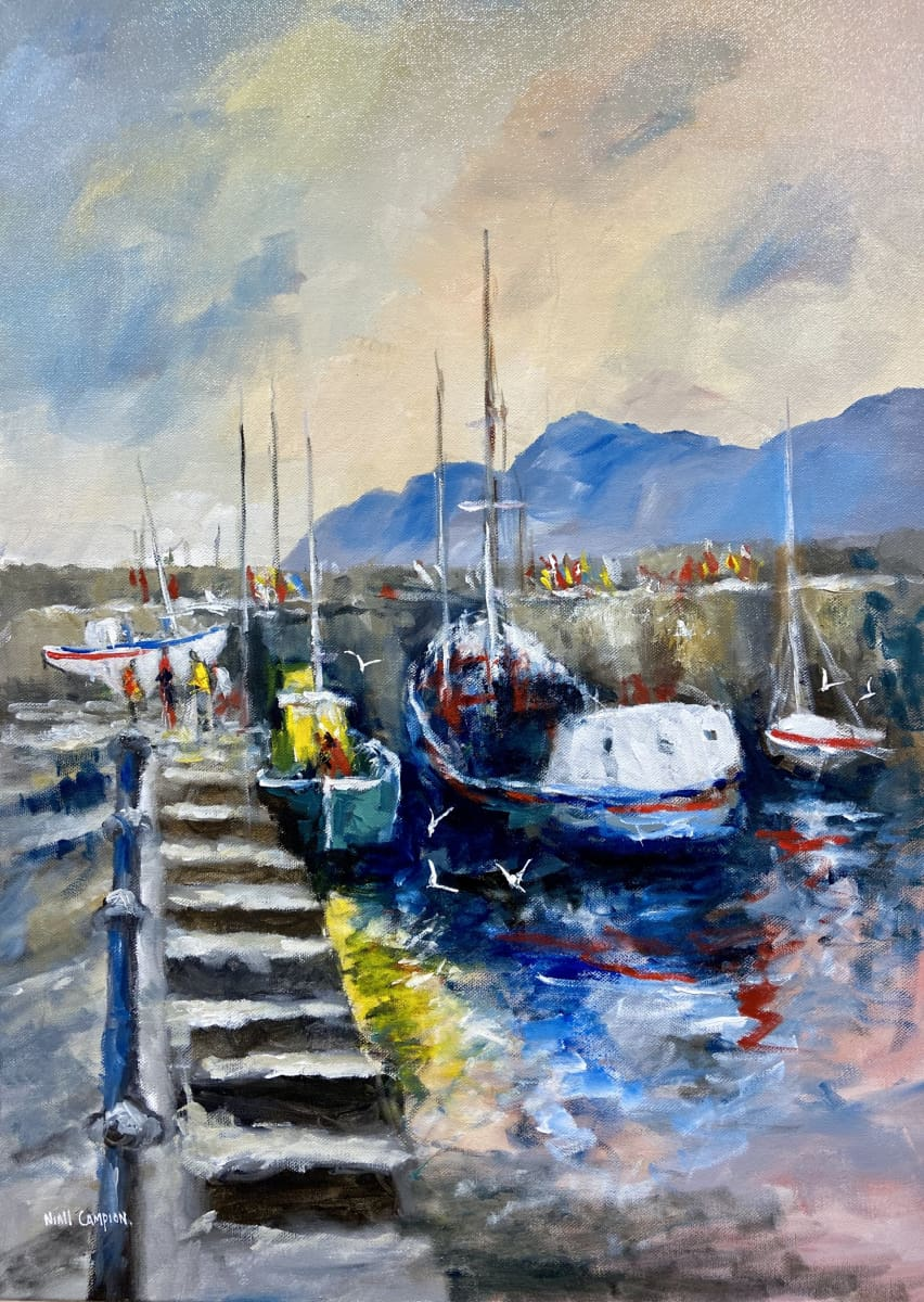 Boats In Howth Harbour Co.dublin Original Artwork