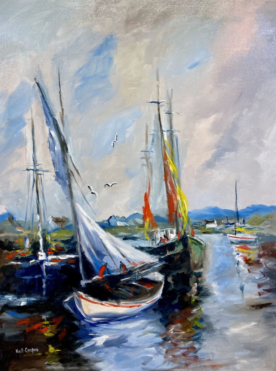 Boats In Kinsale Harbour Co.cork Original Artwork