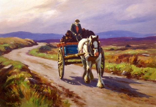 Bringing Home The Turf by Donal McNaughton - Original Artwork