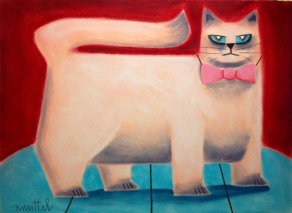Cat With Bow Tie Original Artwork