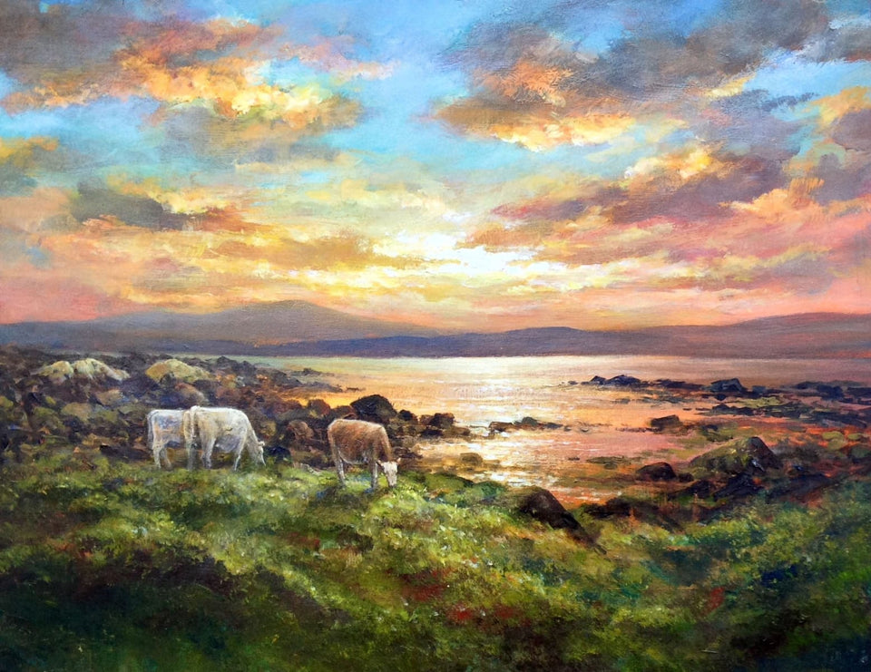Cattle By Sunset On A Donegal Shore. Original Artwork