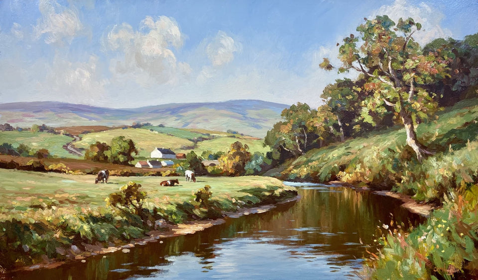 Cattle Grazing By The Dun River Co.antrim Original Artwork