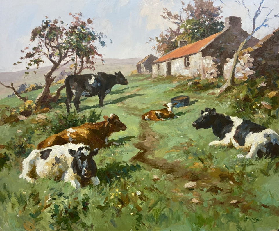 Cattle Resting In The Farmyard Original Artwork